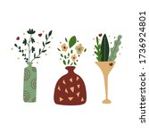 Set Of Vases With Flowers And...