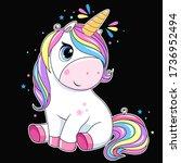 cute unicorn with rainbow hair. ... | Shutterstock .eps vector #1736952494