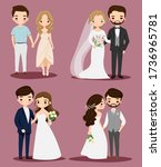 cute bride and groom couple...   Shutterstock .eps vector #1736965781