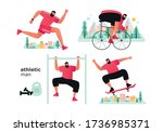 a set of athletes from... | Shutterstock .eps vector #1736985371
