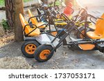 Many modern pedal toy cars for...