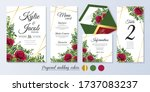 wedding invite  menu  rsvp ... | Shutterstock .eps vector #1737083237