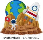 astronaut with flag in the... | Shutterstock .eps vector #1737093017