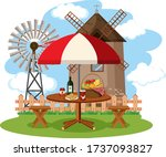 scene with food on the picnic... | Shutterstock .eps vector #1737093827