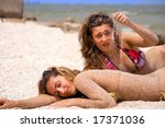 young girls  sunbathing by the... | Shutterstock . vector #17371036