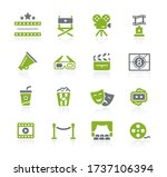 film industry and theater icons ... | Shutterstock .eps vector #1737106394