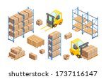 isometric delivery warehouse...   Shutterstock .eps vector #1737116147