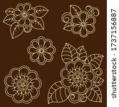 set of mehndi flower pattern... | Shutterstock .eps vector #1737156887