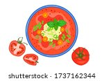 tomato soup isolated on white... | Shutterstock .eps vector #1737162344