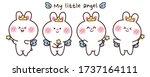 little angel rabbit in various... | Shutterstock .eps vector #1737164111
