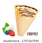 crepe with bananas and... | Shutterstock .eps vector #1737167534