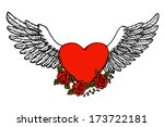 winged heart with roses | Shutterstock .eps vector #173722181