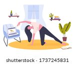 yoga online at home. stay home... | Shutterstock .eps vector #1737245831