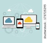 cloud computing concept on... | Shutterstock .eps vector #173725295