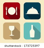 modern flat food icon set for...