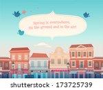 Spring Sunny Town. Vector...