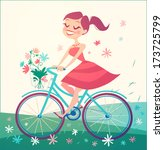girl is riding bike on spring... | Shutterstock .eps vector #173725799
