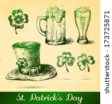 two beers with clovers for st... | Shutterstock .eps vector #173725871
