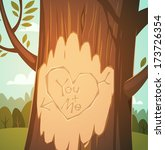 carved heart in a tree.... | Shutterstock .eps vector #173726354