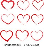 set of red hand drawn hearts... | Shutterstock .eps vector #173728235