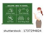 teacher wearing surgical mask... | Shutterstock .eps vector #1737294824