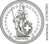 Black and white sketch of Obverse of 1 Swiss franc coin, Helvetia shown standing, the official coin used in Switzerland and Liechtenstein