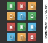 battery black icons with long... | Shutterstock . vector #173732504