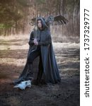 Small photo of Art photo of a warlike youth in a woolen coat with a large owl on his shoulder and a sword in his hands