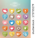 valentine buttons colorful... | Shutterstock .eps vector #173735279