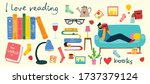 read books collage. man reading ... | Shutterstock .eps vector #1737379124