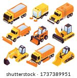 road cleaning vehicles... | Shutterstock .eps vector #1737389951