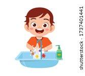 happy cute little kid boy wash...   Shutterstock .eps vector #1737401441