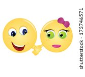 emoticon couple happily holding ... | Shutterstock .eps vector #173746571