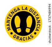 "mantenga la distancia gracias  ""... | Shutterstock .eps vector #1737484994"