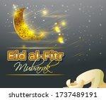 eid al fitr  mubarak text means ... | Shutterstock .eps vector #1737489191