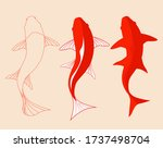 koi red fish in three versions. | Shutterstock .eps vector #1737498704