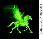 Raster version. Illustration of green fire Pegasus on black background. - stock photo