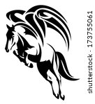 winged horse design   black and ... | Shutterstock .eps vector #173755061