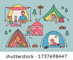 various people camp in... | Shutterstock .eps vector #1737698447