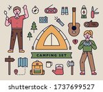 camping tools icons with men... | Shutterstock .eps vector #1737699527