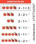 subtraction for kids. cartoon... | Shutterstock .eps vector #1737716567