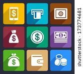 money and bank flat icons set 40 | Shutterstock .eps vector #173774681