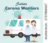 Doctor is a hero . doctor with ambulance thank you doctors and nurse. you are the best. from health care workers with love. Fight against covid-19 viruses Salute corona warriors. vector illustration