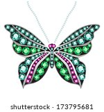 Butterfly Made Of Colored Gems