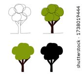 tree continuous line drawing ... | Shutterstock .eps vector #1738019444