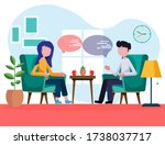 man and woman are sitting in... | Shutterstock .eps vector #1738037717