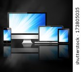 tablet pc  mobile phone ... | Shutterstock . vector #173805035