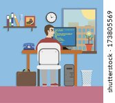 workplace with hands and... | Shutterstock .eps vector #173805569