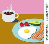 wholesome breakfast vector... | Shutterstock .eps vector #1738057484