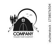 happy camper logo design. vector | Shutterstock .eps vector #1738076504